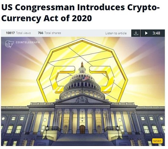 US Congressman Introduces Crypto-Currency Act of 2020